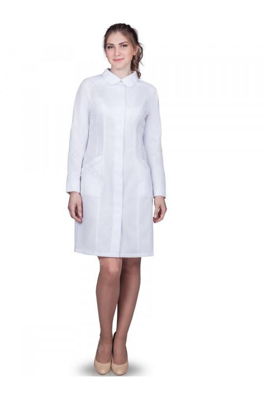 Халат медицинский женский 259 (белый, тиси)