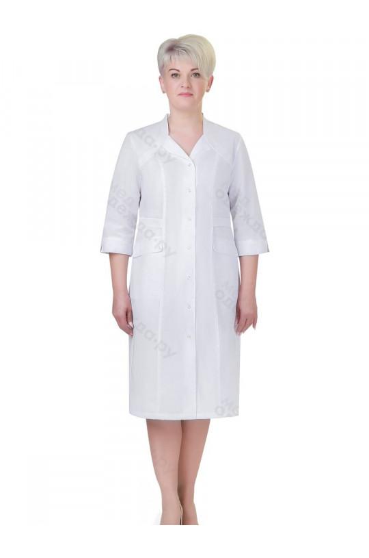 Халат медицинский женский 261 (белый, тиси)