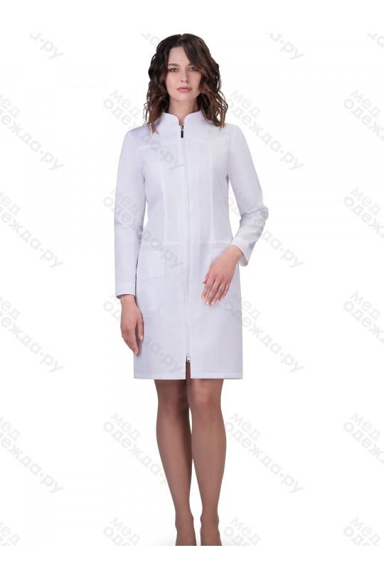 Халат медицинский женский 277 (белый, тиси)