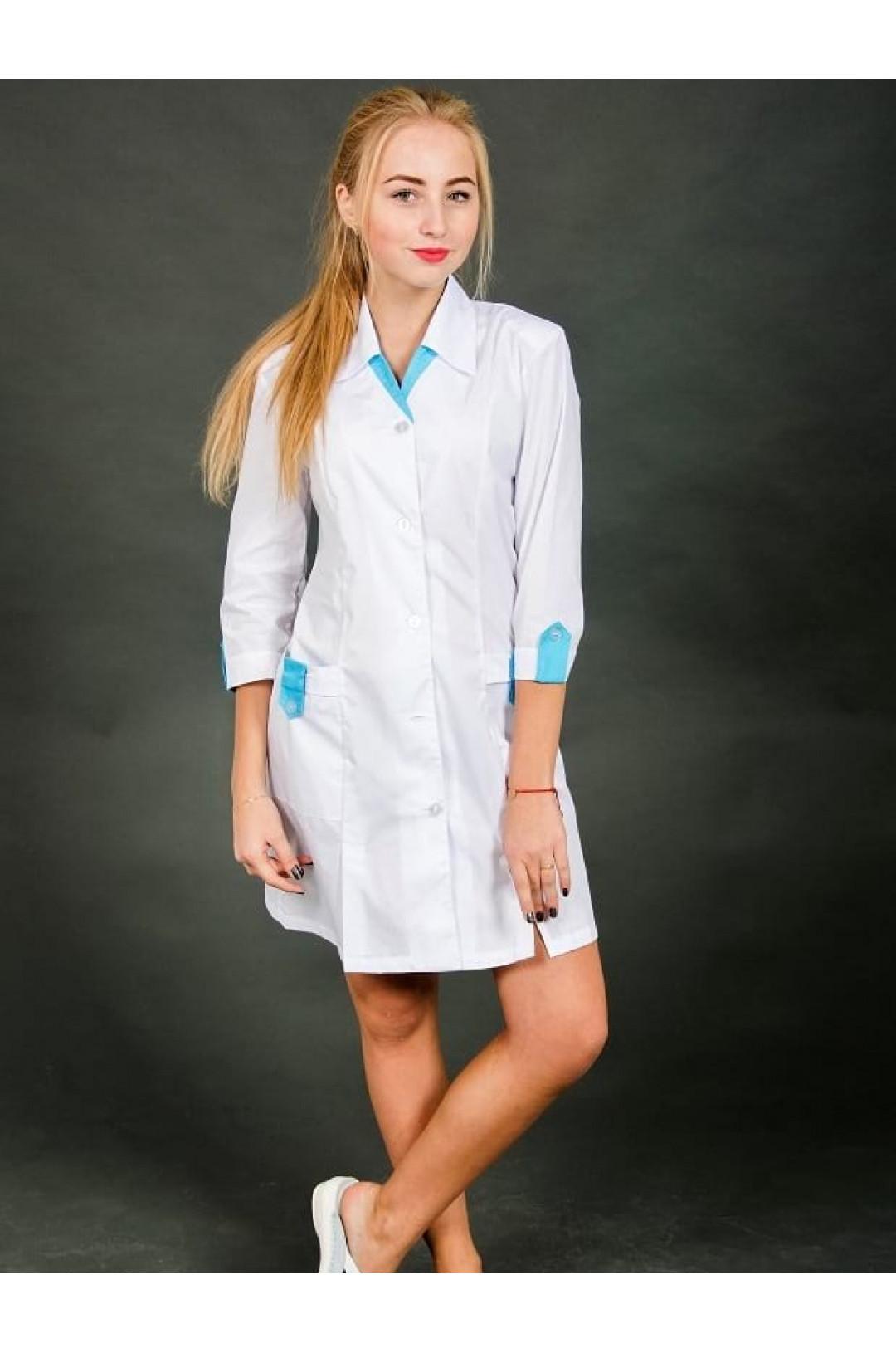 Халат медицинский женский 102 (белый, сатори)