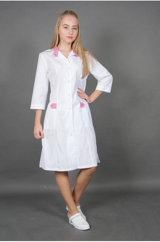 Халат медицинский женский 146М (белый, тиси)