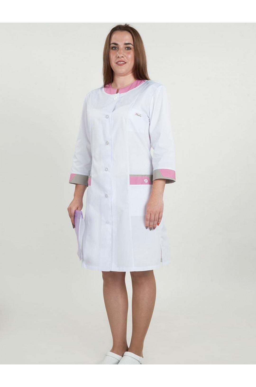 Халат медицинский женский 178 (белый, тиси)
