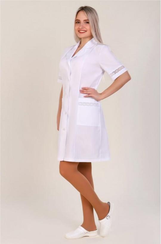 Халат медицинский женский 84 (белый, тиси)