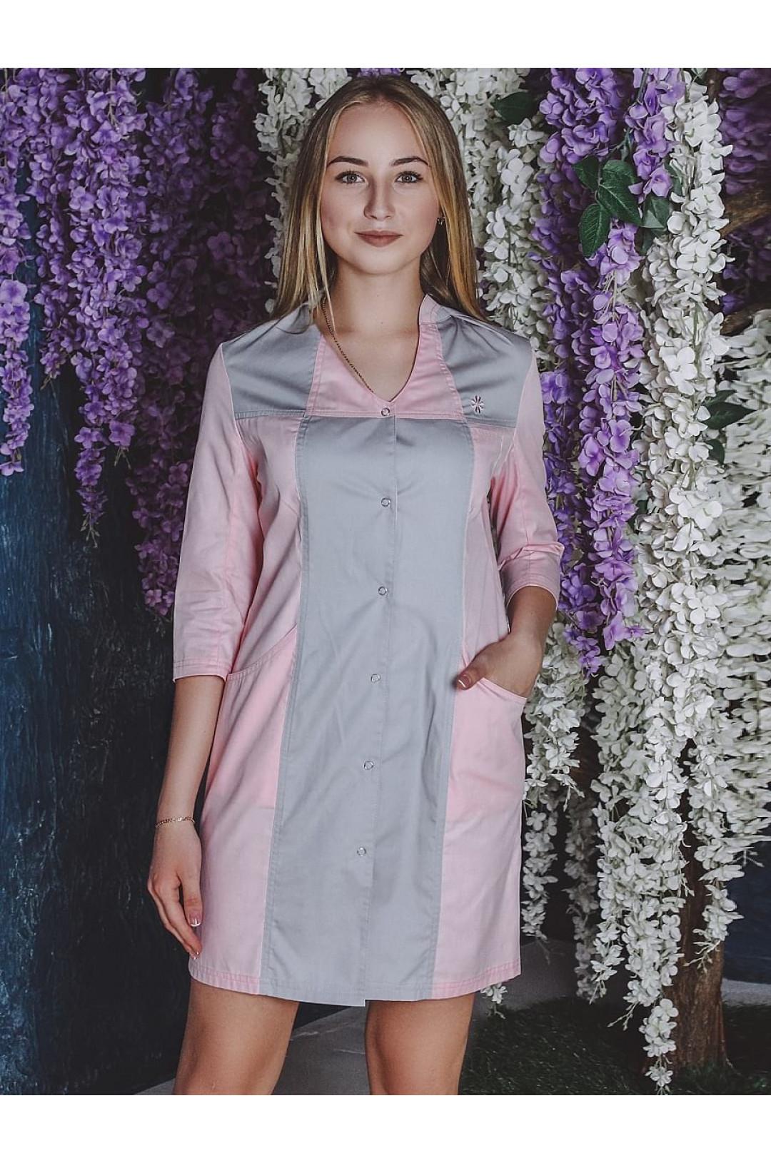 Халат медицинский женский LL 1101 (розовый/серый, тередо)