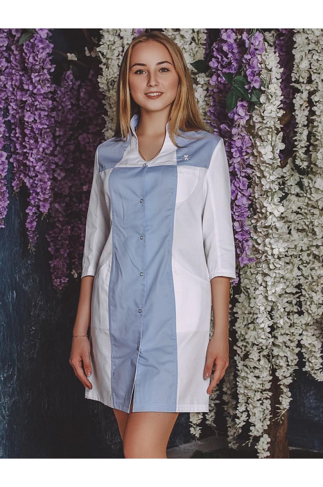 Халат медицинский женский LL 1102 (белый/голубой, тередо)