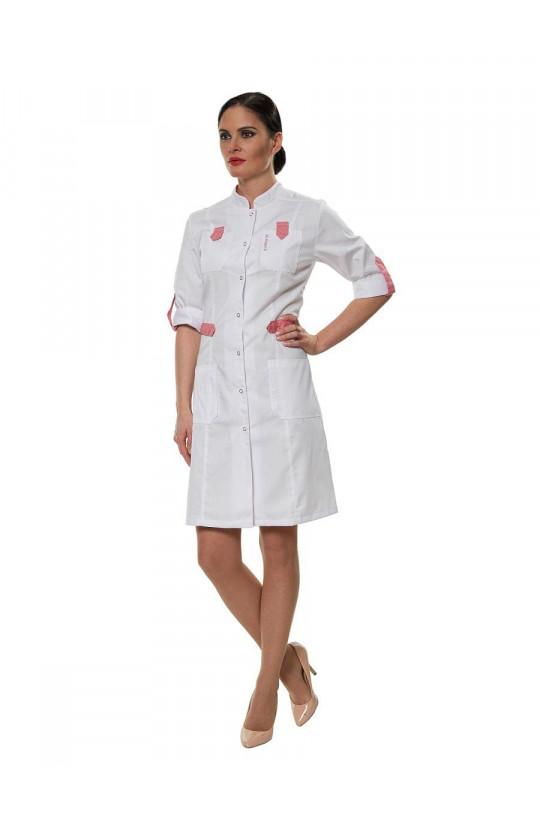 Халат медицинский женский LL 1108 (белый/розовый, сатори)