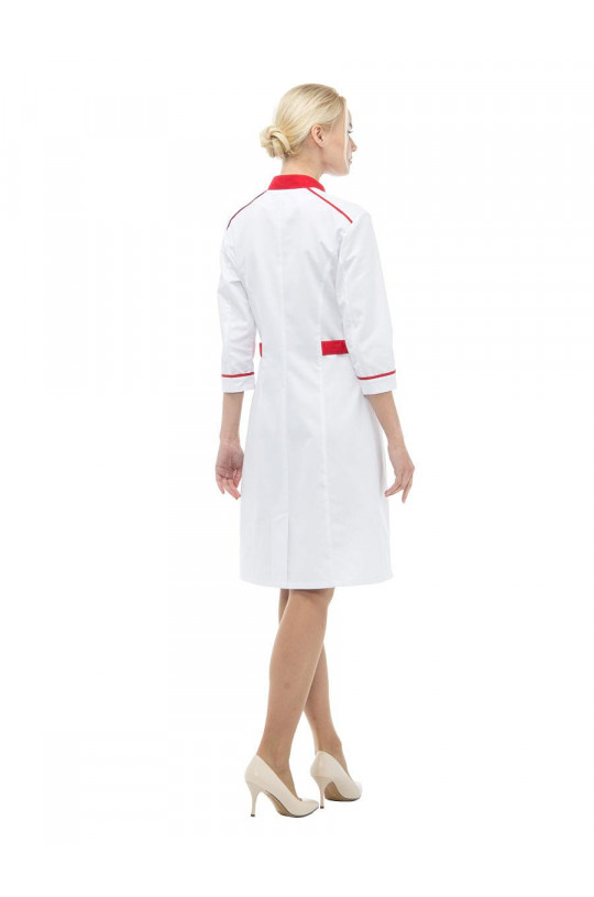 Халат медицинский женский LL 1112 Редлайн (белый/красный, сатори)