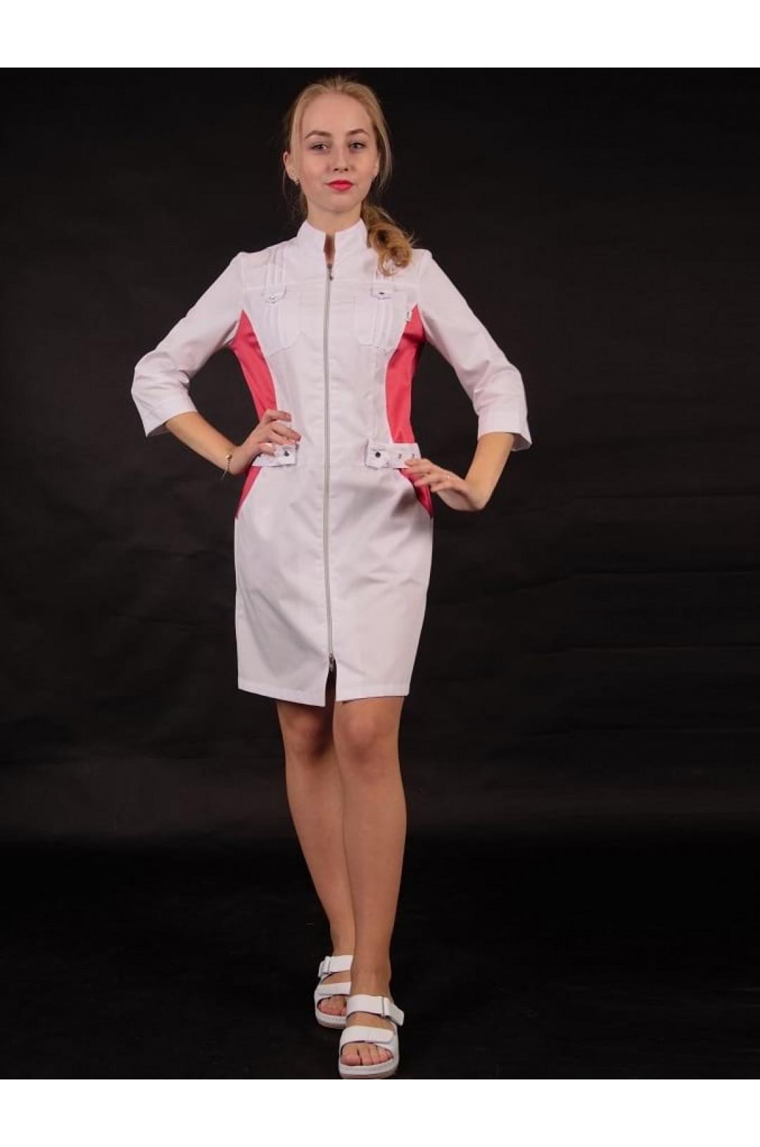 Халат медицинский женский Х-239 (белый/красный 44, сатори)