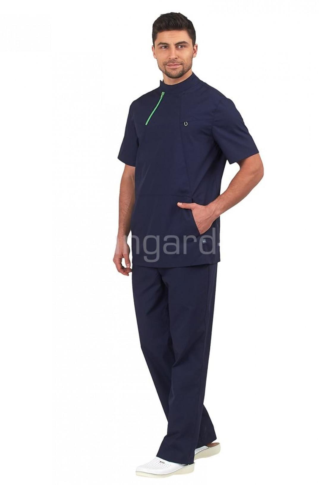 Блуза медицинская мужская Эскулап (нави, тиси)