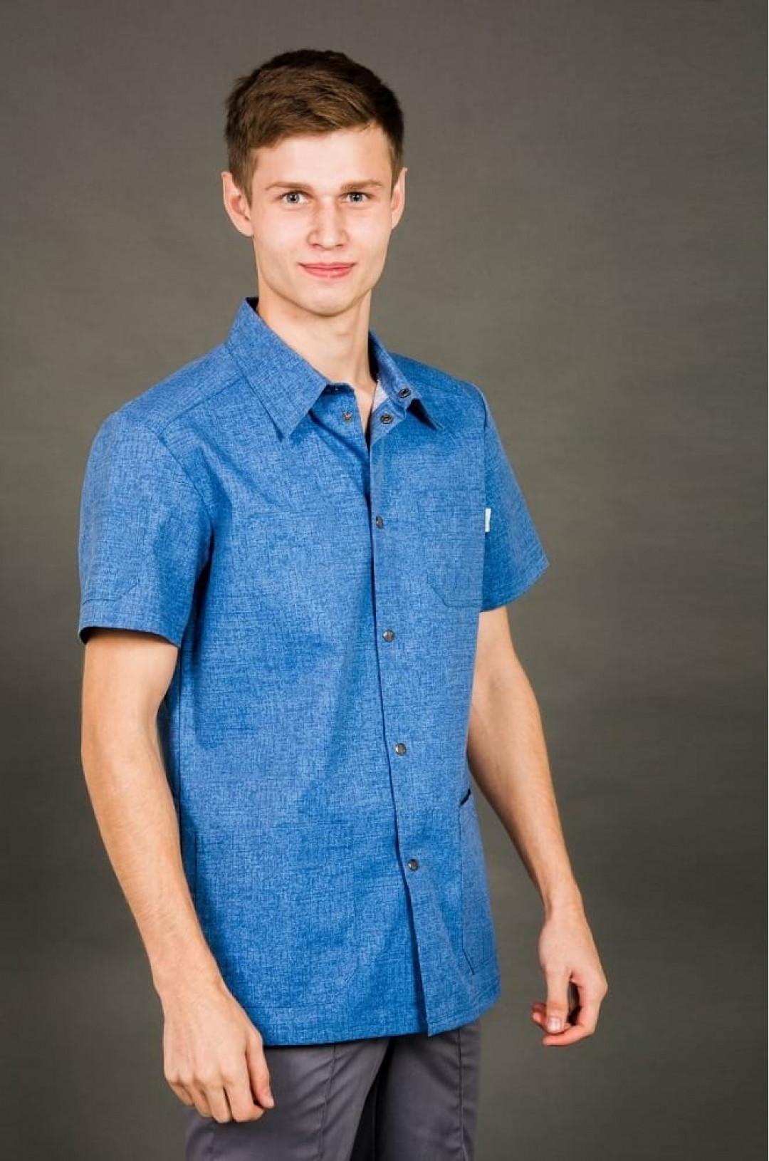 Блуза медицинская мужская 8-854 (принт джинса, тередо)