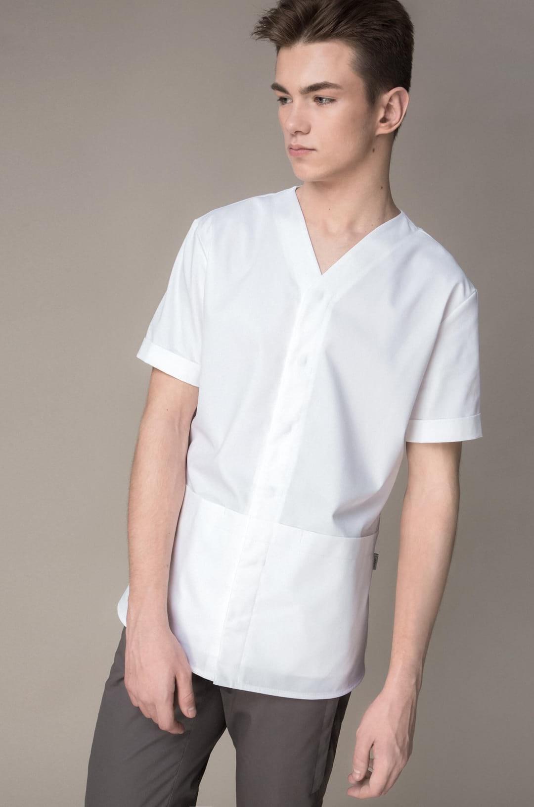 Блуза медицинская мужская 8-1028 (белый, экстрафлекс)