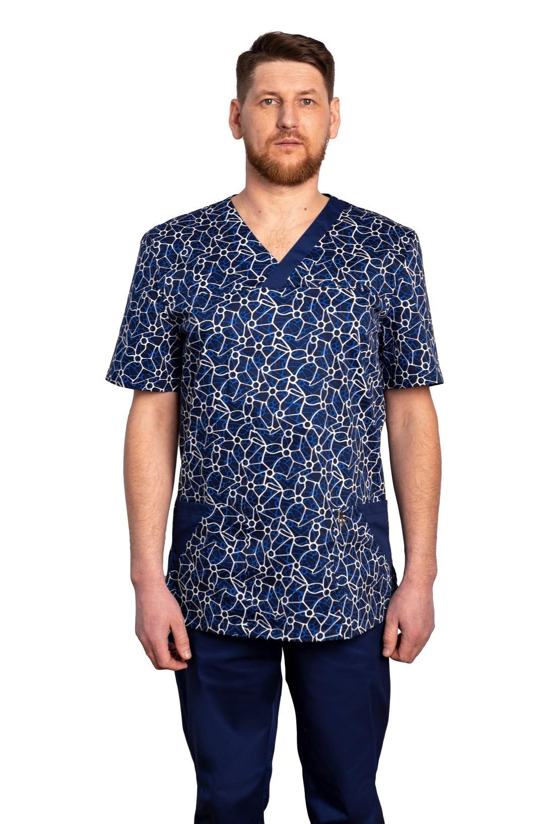 Куртка медицинская мужская R-211 (принт нано, стрейч)