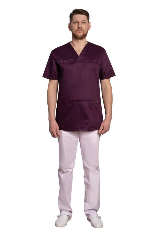 Куртка медицинская мужская Т-306 (баклажан, стрейч)