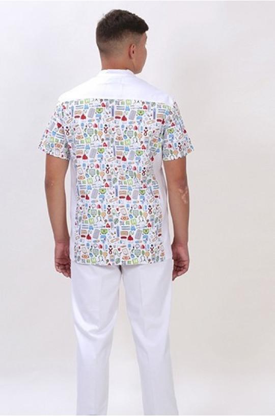 Блуза медицинская мужская Тайлер КМ.568 (белый принт, твилл)