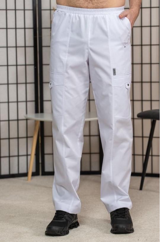 Брюки медицинские мужские М-750 (белый, элит-145)