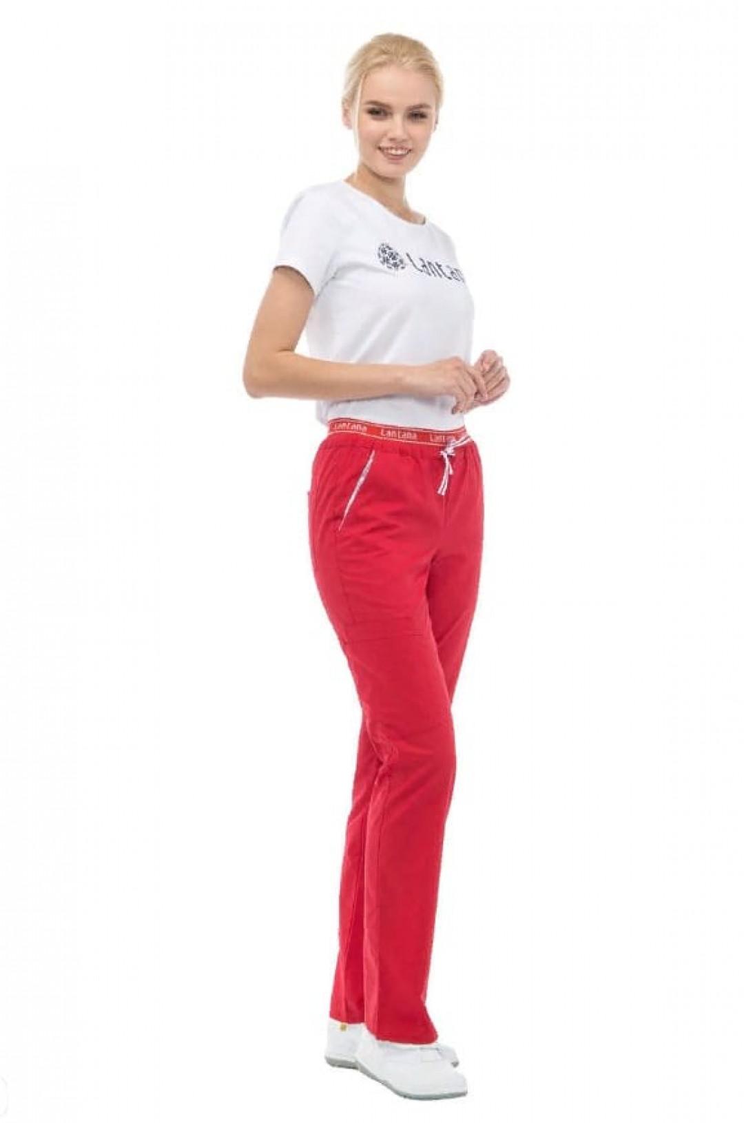 Брюки медицинские женские LF 3105 (красный, стрейч)