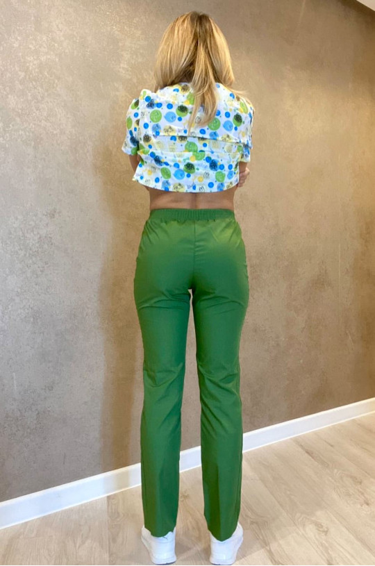 Брюки медицинские женские Н 021 (зеленый, тиси)