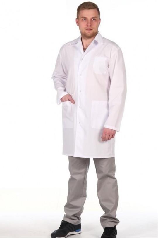 Халат медицинский мужской 65.0 (белый, тиси)