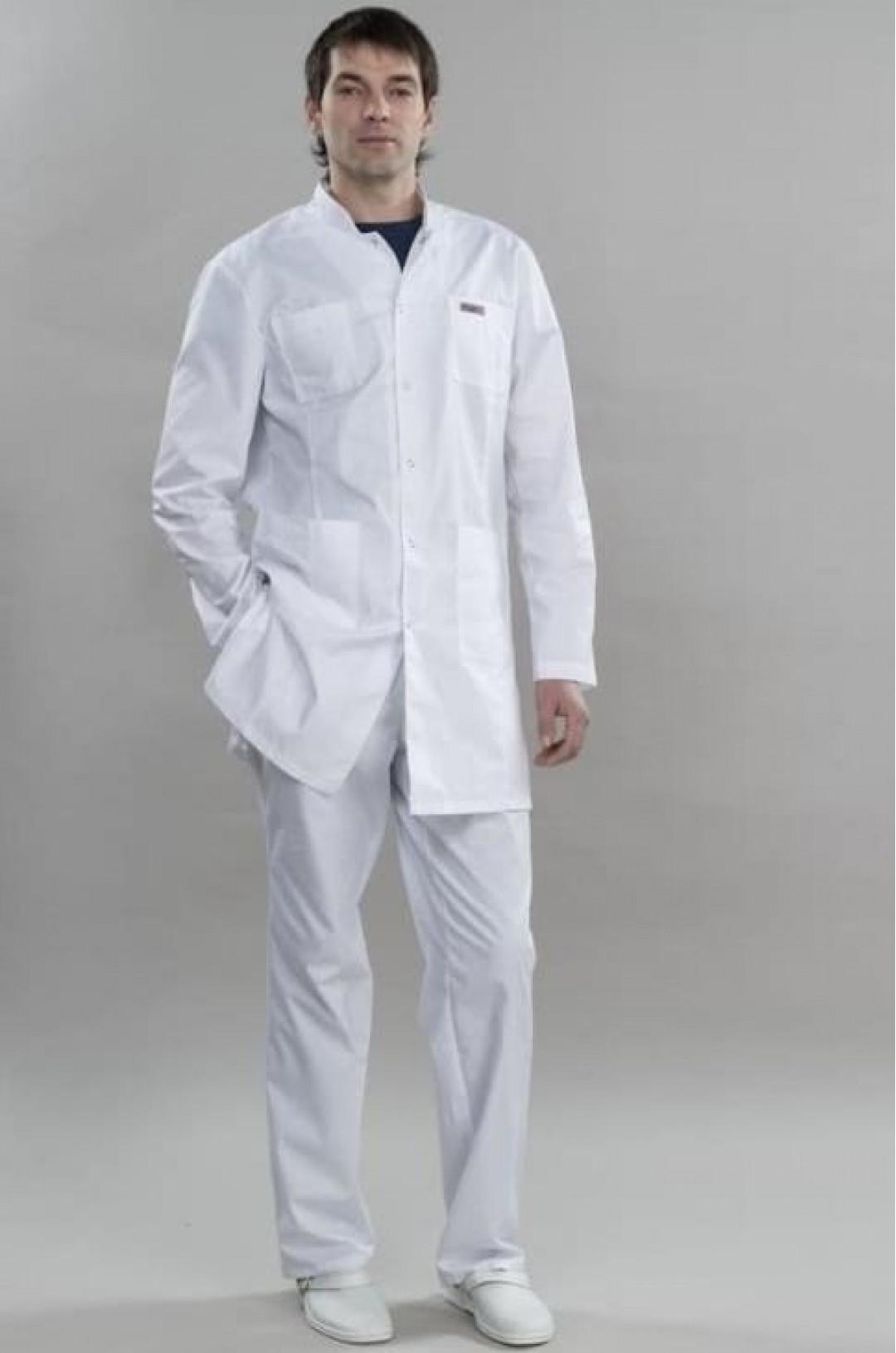 Халат медицинский мужской 100.4 (белый, сатори)