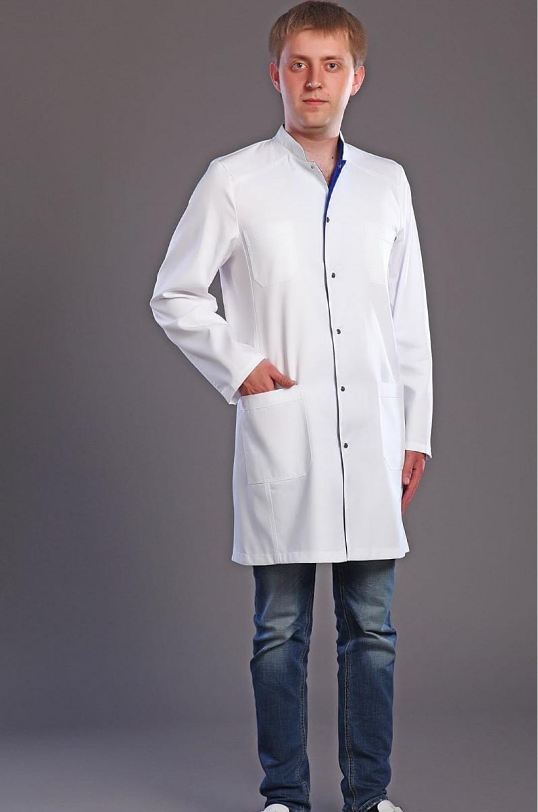 Халат медицинский мужской М-047 (белый, элит-145)