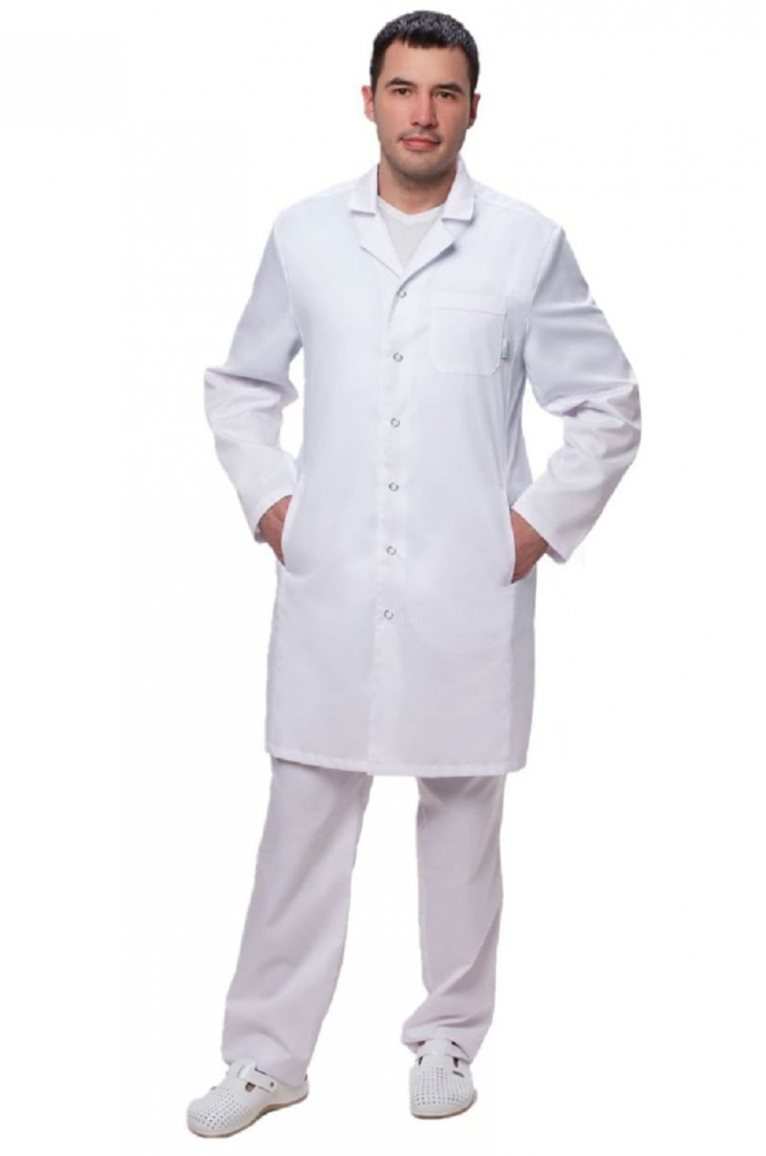 Халат медицинский мужской 501 (белый, тиси)