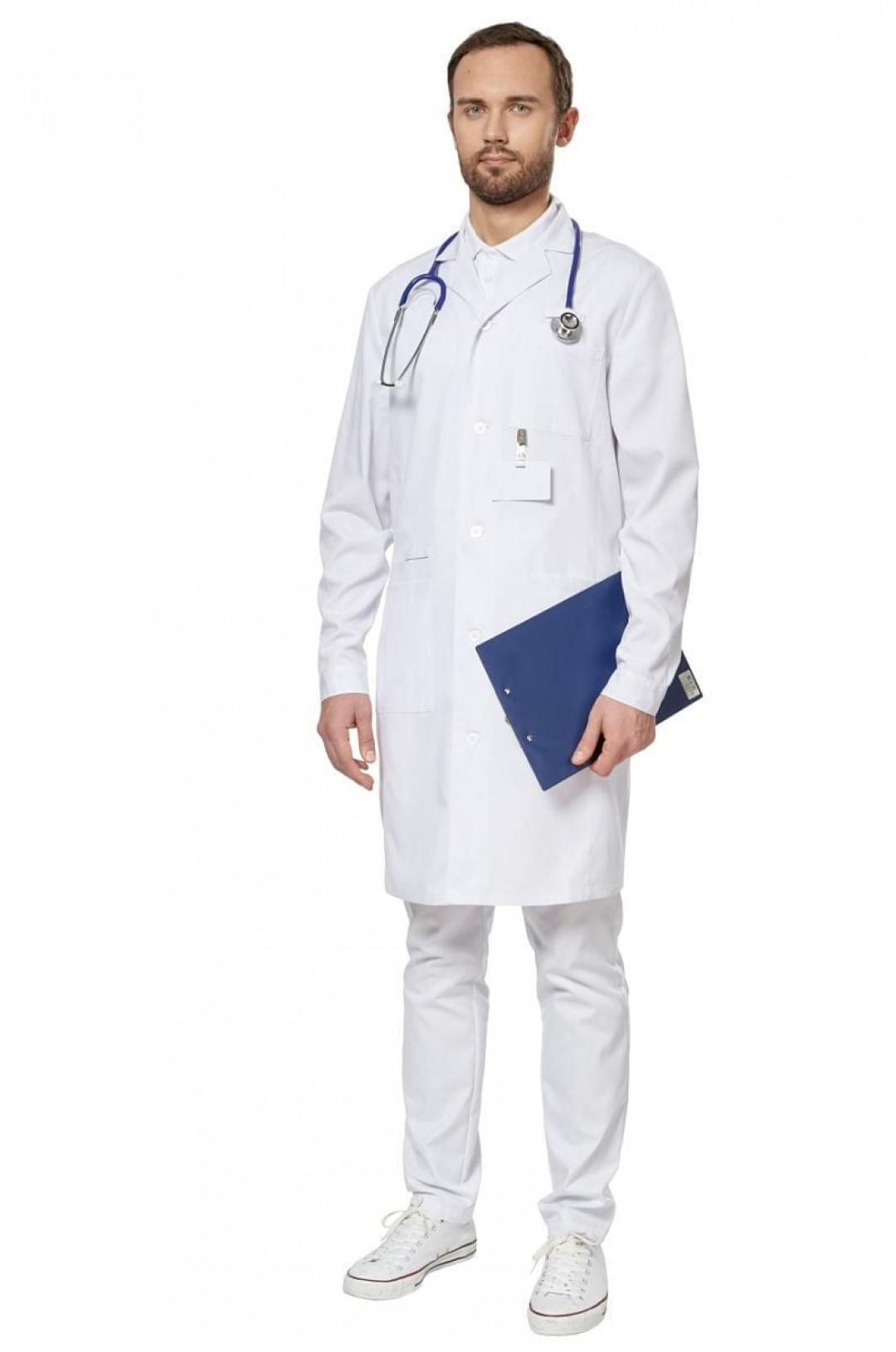 Халат мужской медицинский LL 1202 (белый, сатори)