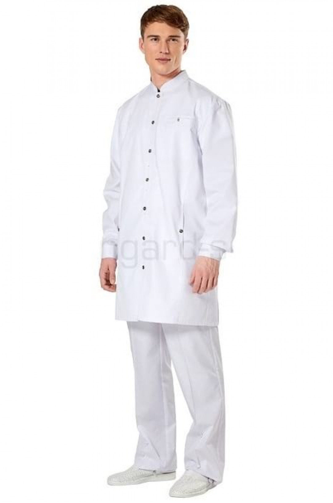 Халат медицинский мужской ЭКСПЕРТ (белый, тиси)