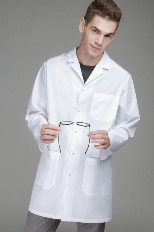 Халат медицинский мужской 0006 (белый, тиси люкс)