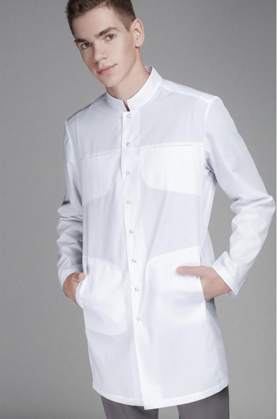 Халат медицинский мужской 0007 (белый, тиси люкс)