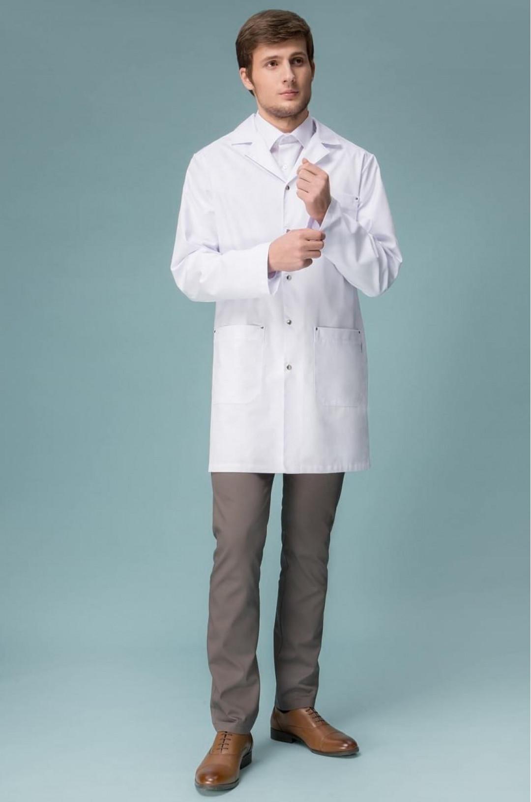 Халат медицинский мужской 1-729 (белый, сатори)