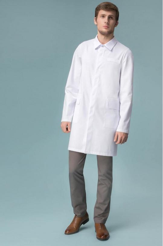 Халат медицинский мужской 1-1203 (белый, тередо)