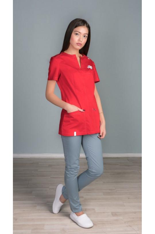 Куртка медицинская женская Z16-1634 (красный, стрейч)
