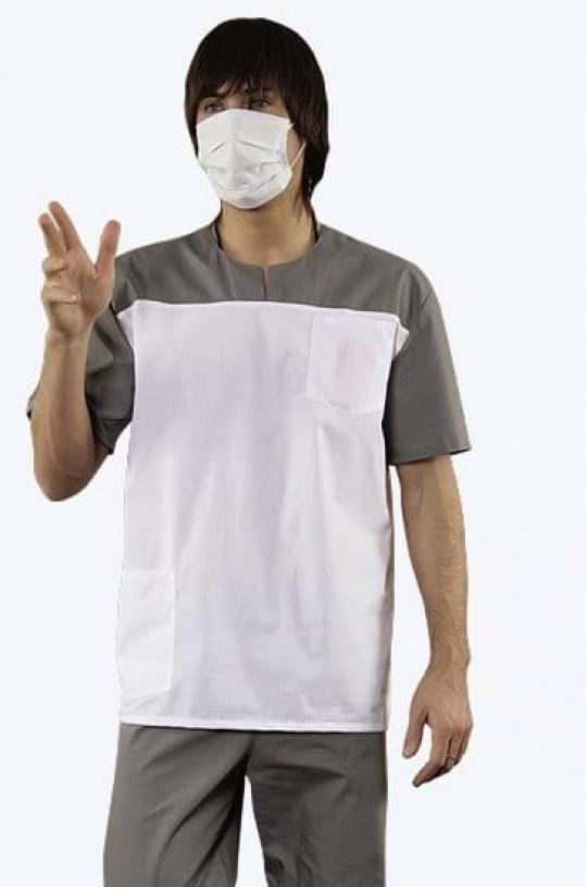 Костюм медицинский мужской Доктор (белый/серый, тиси)