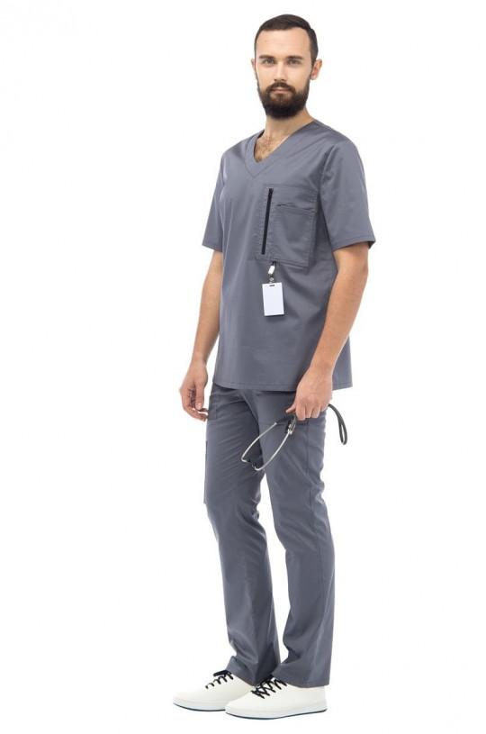 Костюм медицинский мужской LL 6201 Грей (серый, сатин)