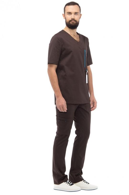 Костюм медицинский мужской LL 6202 Гавана (коричневый, смесовая)