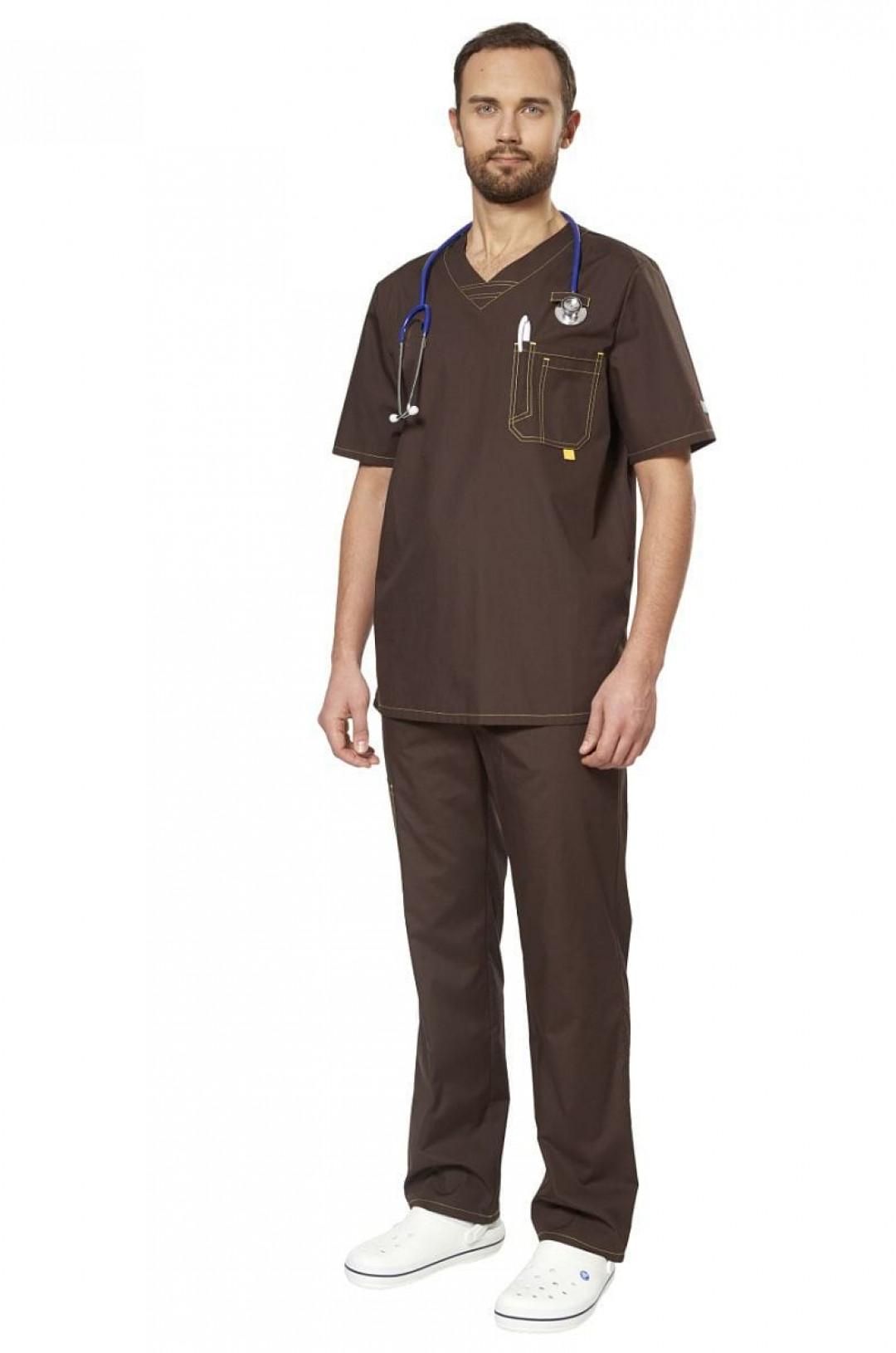 Костюм медицинский мужской Аура (коричневый, тиси)