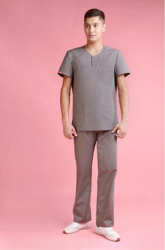 Костюм медицинский мужской 8-0015 (т.серый, ТС Люкс)