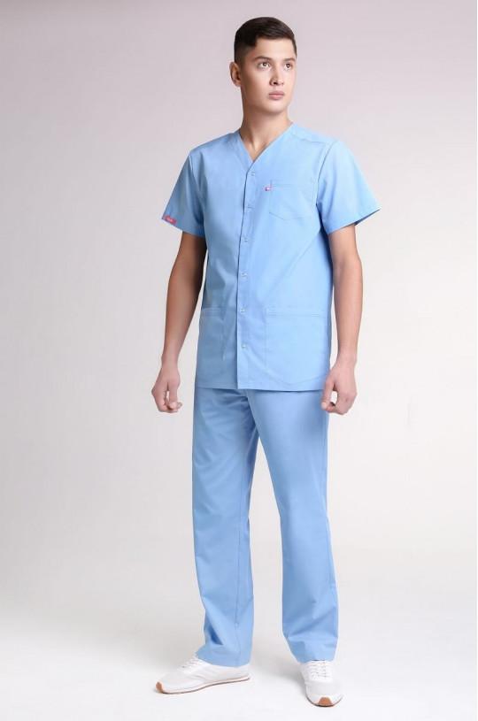Костюм медицинский мужской 8-0018 (серо-голубой, ТС Люкс)
