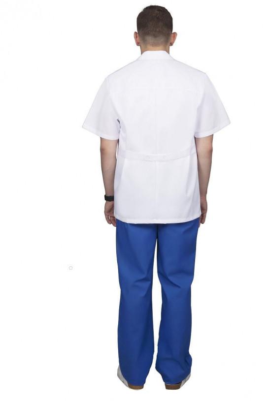 Костюм медицинский мужской 701 (белый/синий 13, тиси)