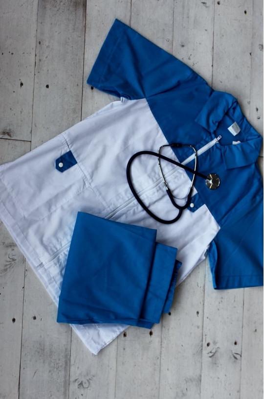 Костюм медицинский мужской 720 (белый/синий 13, сатори)