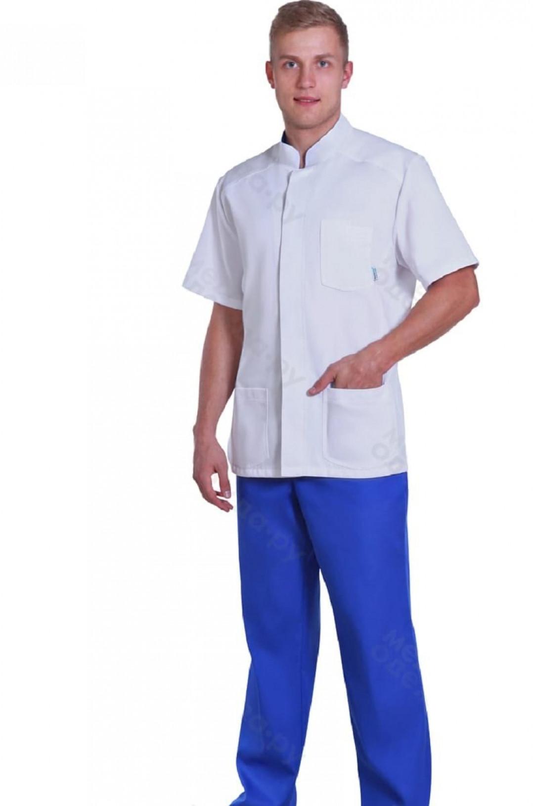 Костюм медицинский мужской 750 (белый/синий 13, тиси)