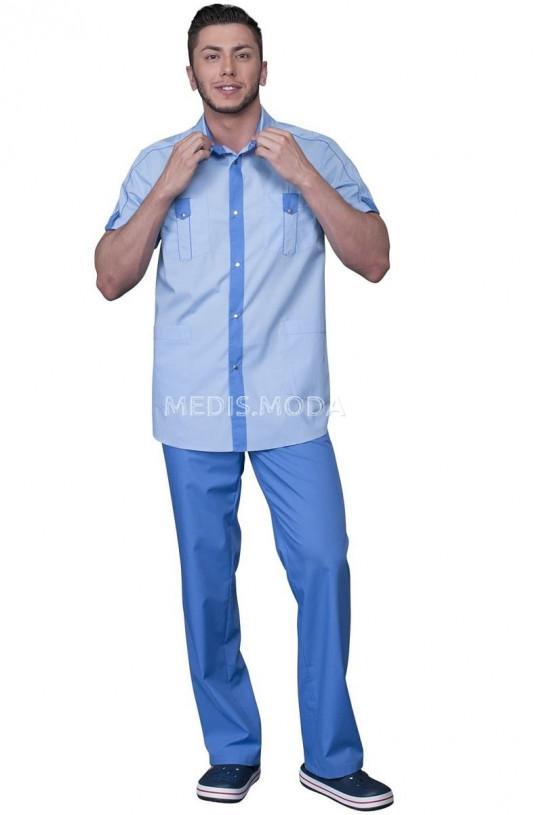 Костюм медицинский мужской 214 (св. голубой 5/голубой 8, айман)
