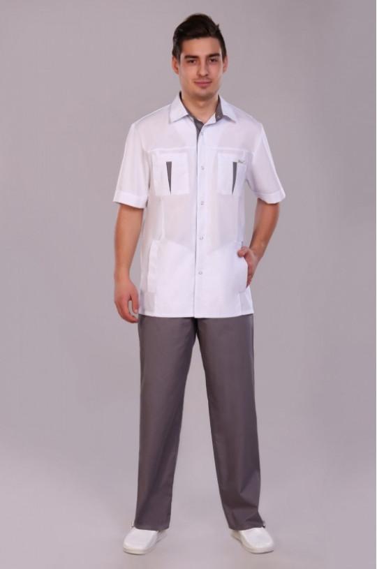 Костюм медицинский мужской 233 (белый/серый, тиси)