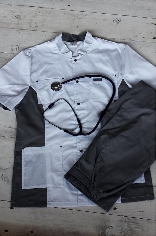 Костюм медицинский мужской 100.0 (белый/серый, сатори)