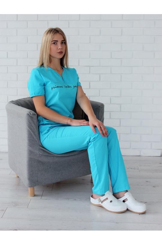 Костюм медицинский женский 122.0 (голубой, сатори/трикотаж)