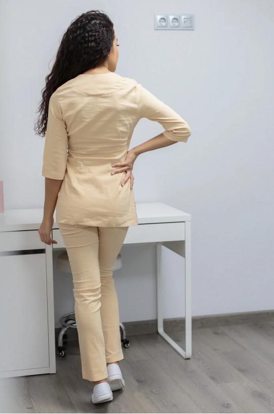 Костюм медицинский женский Шанхай (бежевый, cotton)