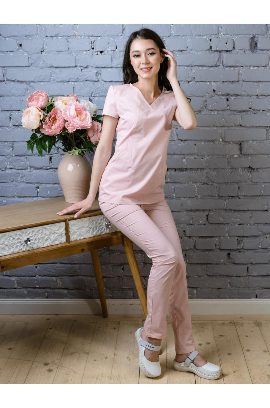 Костюм медицинский женский 8-1037 (розовый, экстрастрейч)
