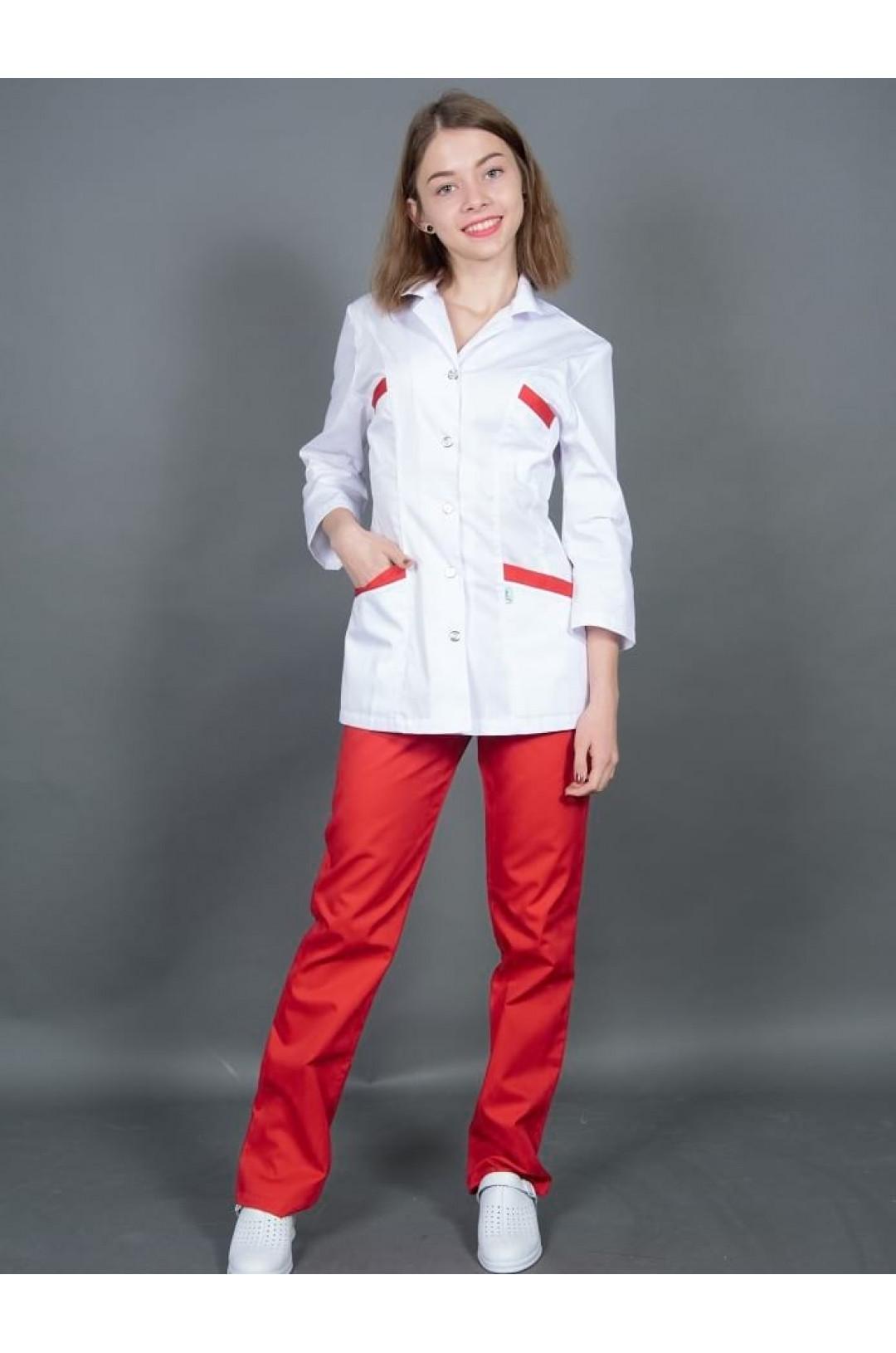 Костюм медицинский женский 204 (бело/красный 44, сатори)