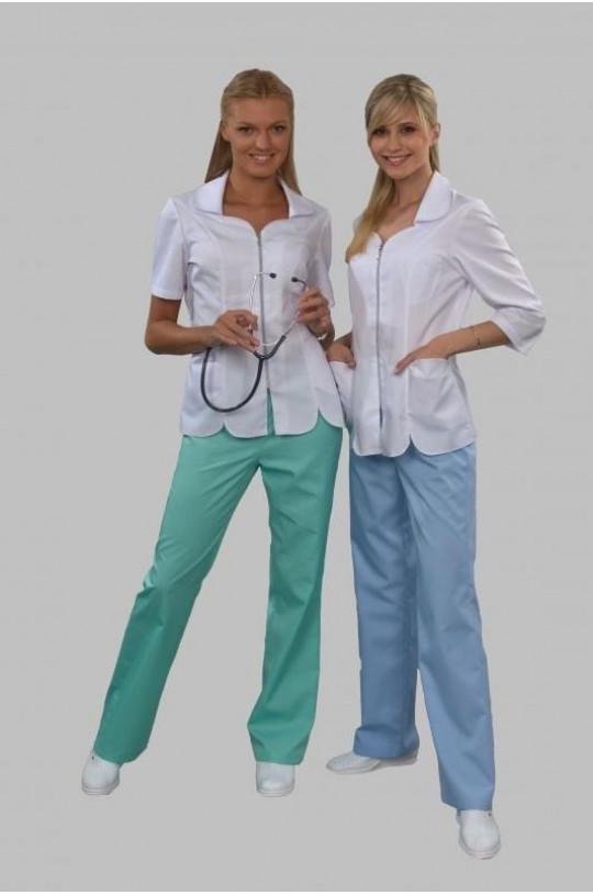 Костюм медицинский женский 302 (бело/голубой 112, сатори)