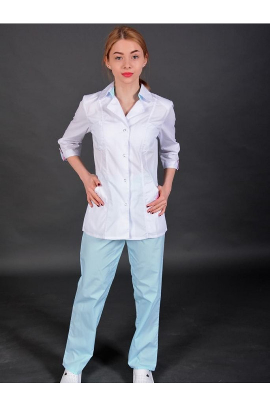 Костюм медицинский женский 144М (белый/бирюзовый 02, тиси)